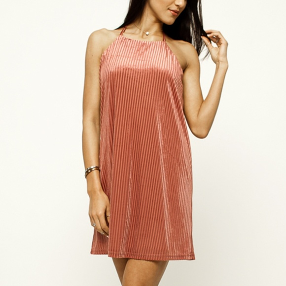 fd819b91c5b8 Very J BIA Beige Stripe Velvet Strappy Swing Dress
